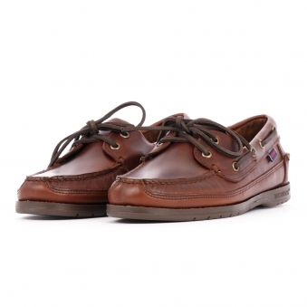 d563ef2b73 Schooner Waxed Leather Boat Shoes - Brown