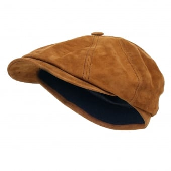 Stetson Classic 8/4 Goat Suede Tan Newsboy Cap 6847401 68