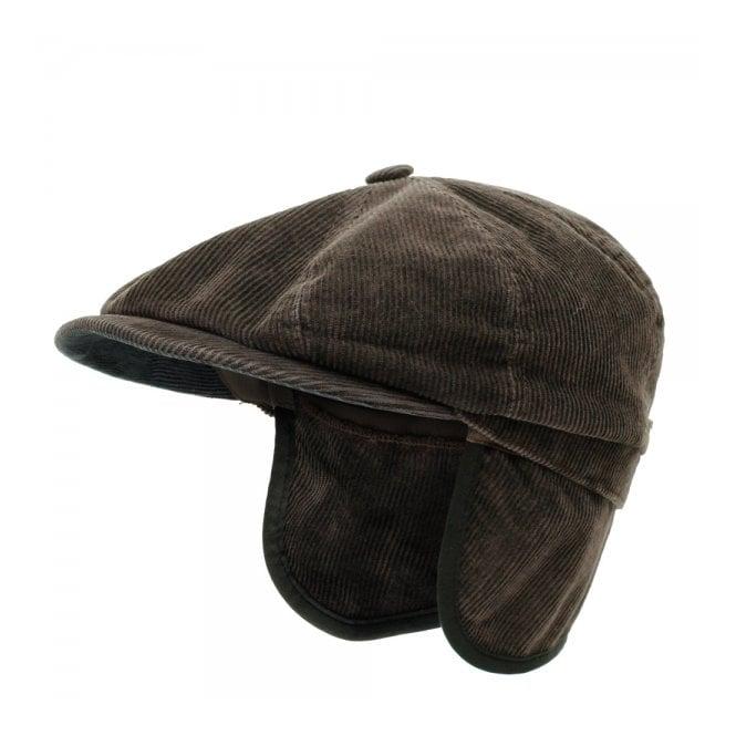 bf7abec34 Stetson Hats Hatteras Corduroy Ear Flap Flat Cap- Brown