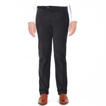 Turnbull & Asser Wide Horizontal Navy Corduroy Trousers MTR004