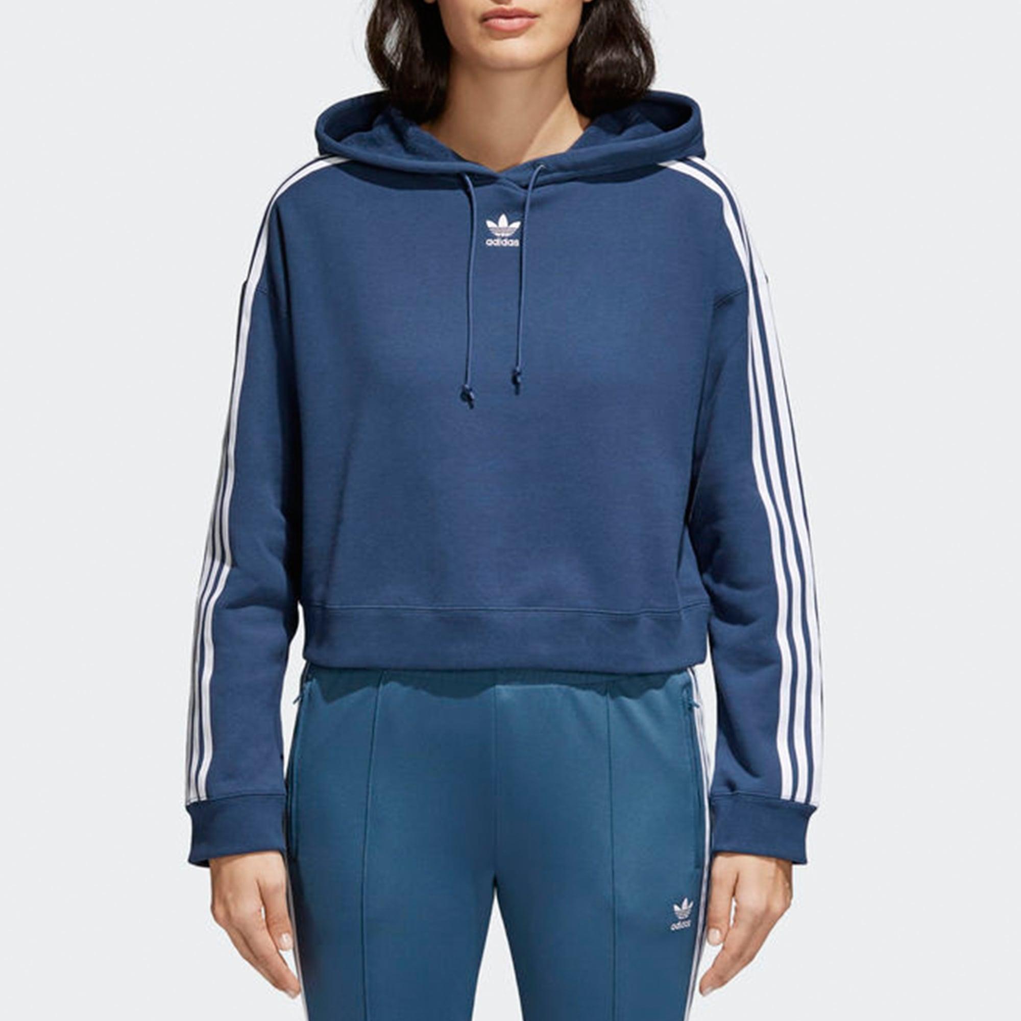 adidas Originals Womens Womens Mineral Blue Cropped Hoodie