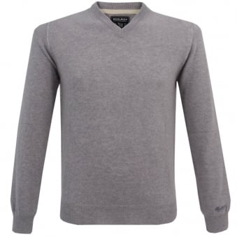 Woolrich Mill V-Neck Light Grey Jumper WOMAG1536
