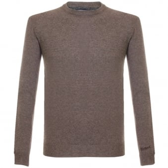 Woolrich Super Geelong Crew Neck Knitted Brown Jumper 029551-7235