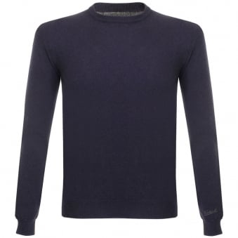 Woolrich Super Geelong Crew Neck Knitted Dark Navy Jumper 029551-309