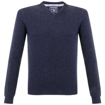 Woolrich Super Geelong V-Neck Knitted Navy Jumper 129551-336