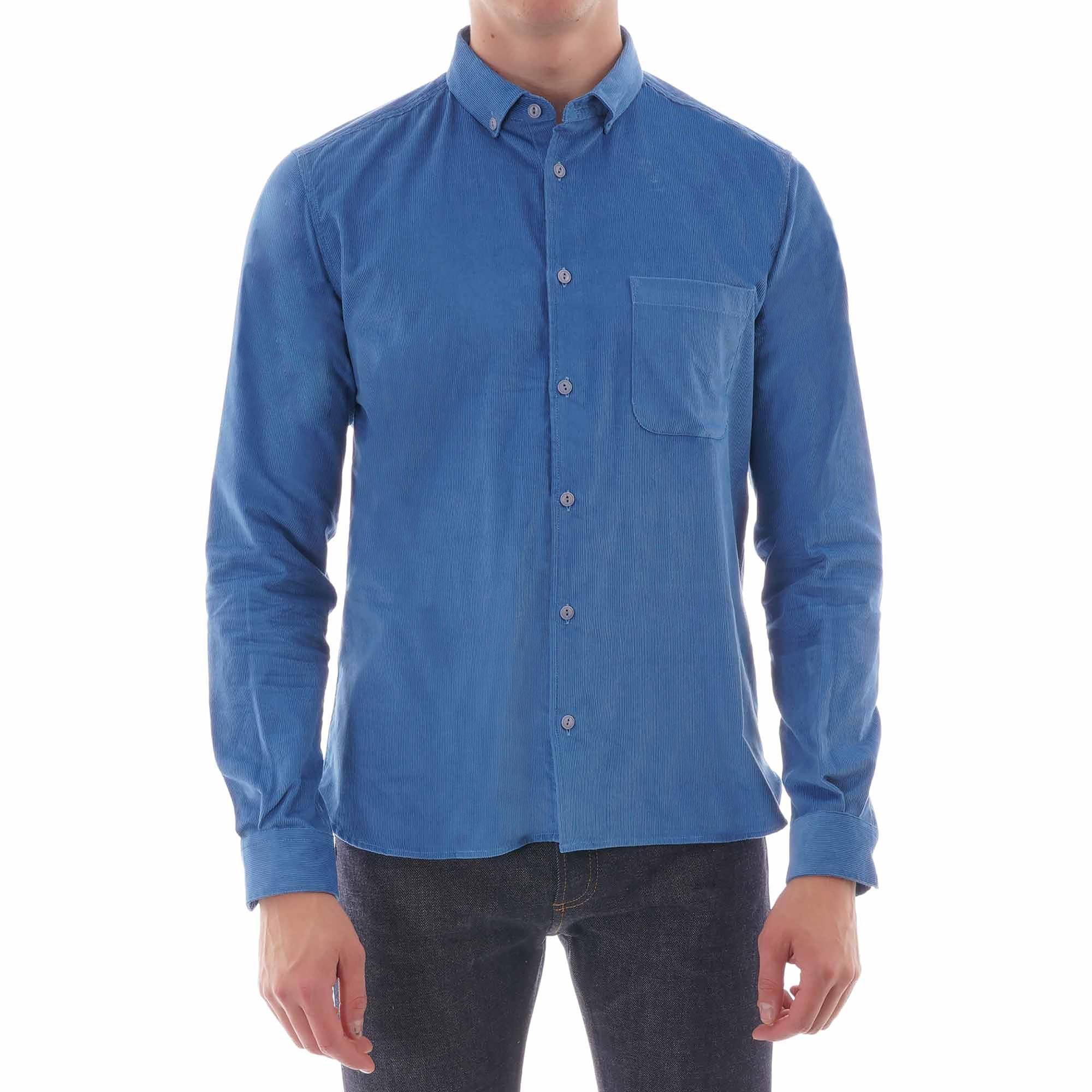 ymc button down dean cord shirt - blue