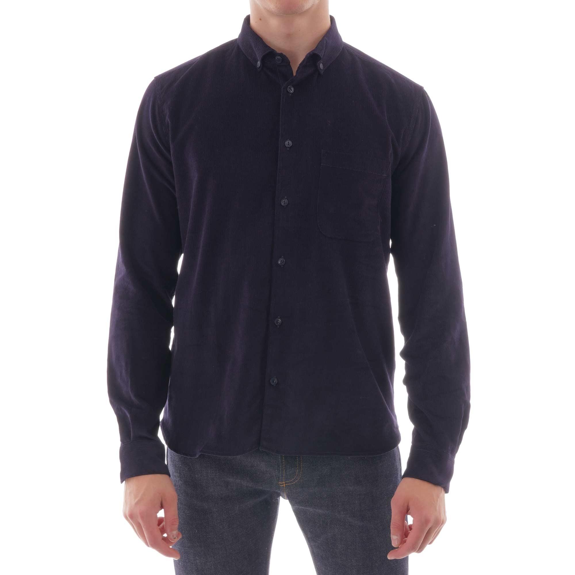 ymc button down dean cord shirt - navy