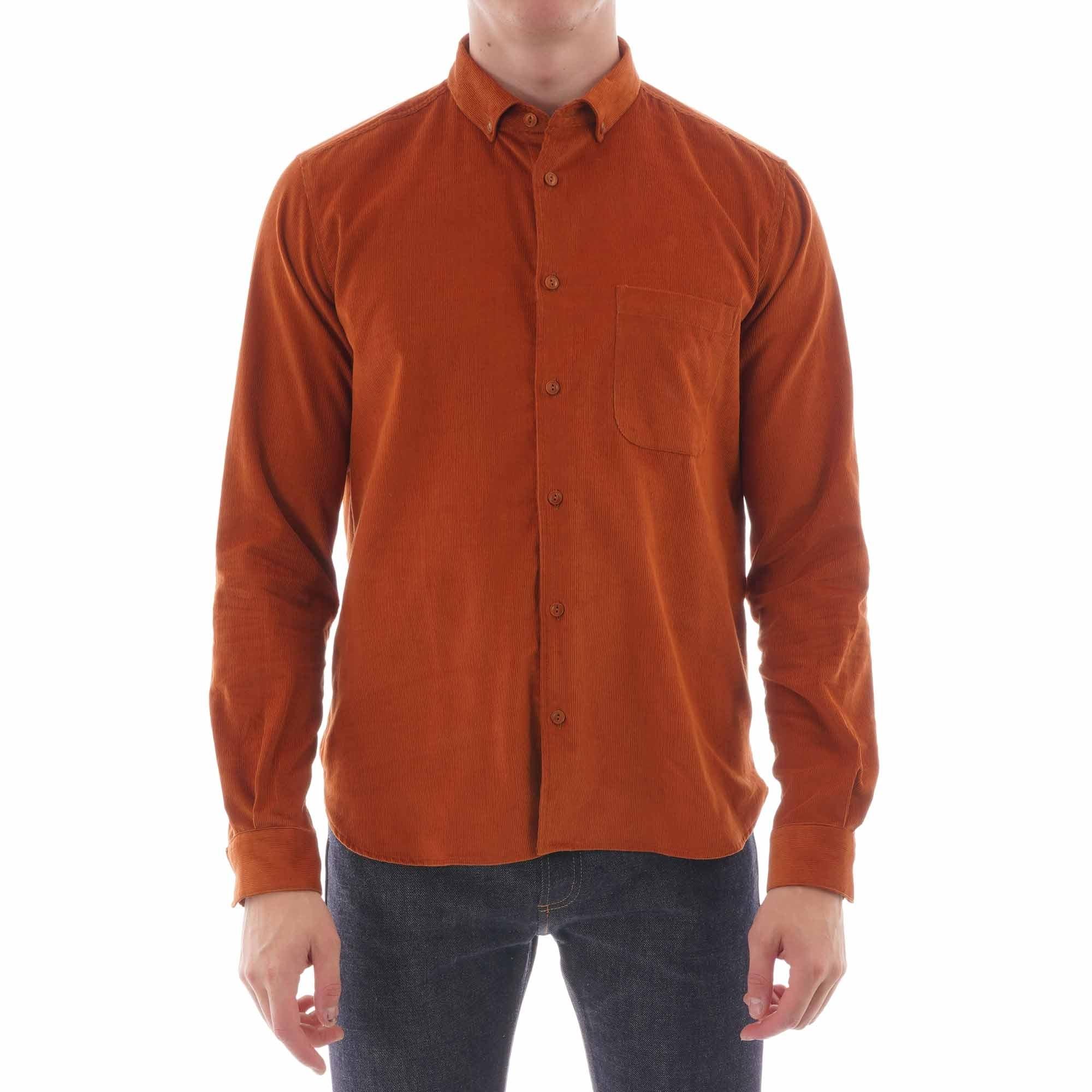 ymc button down dean cord shirt - rust